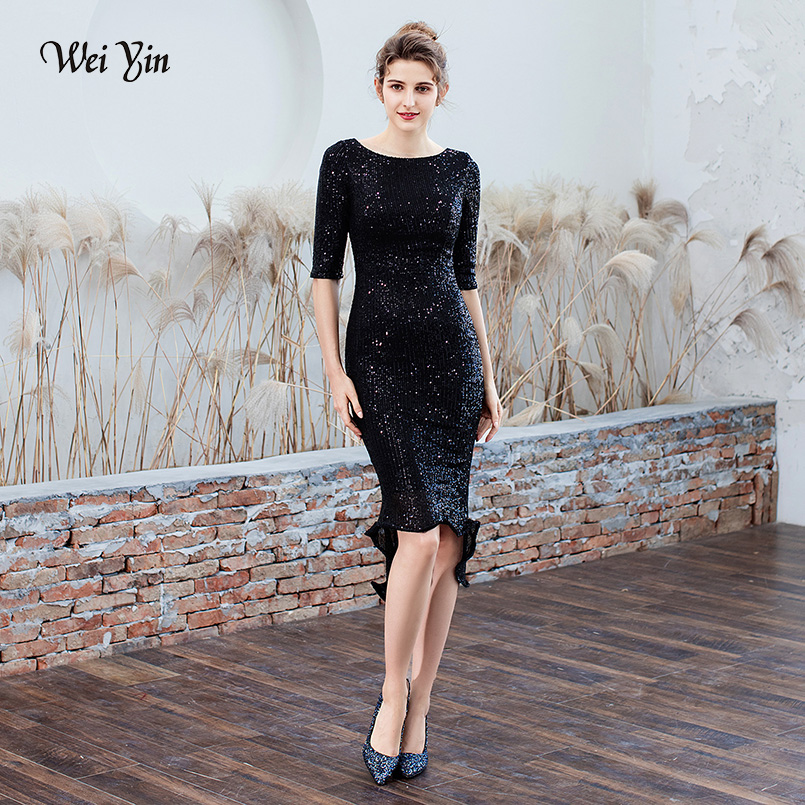 wei yin Black Sequins   Cocktail     Dresses   New Arrival Sexy O Neck Spaghetti Straps Party Gown Bodycon Vestido Coctel Corto WY1780