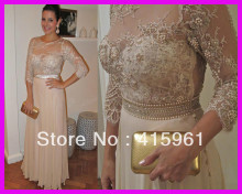 Champagne Long Sleeve Pearls Lace Formal Women Party Prom Evening Dresses Chiffon E4322