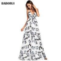 Baborui Fashion Women Long Halter Dress Female Floral Print Spring Summer Casual A Line Elegant Sexy