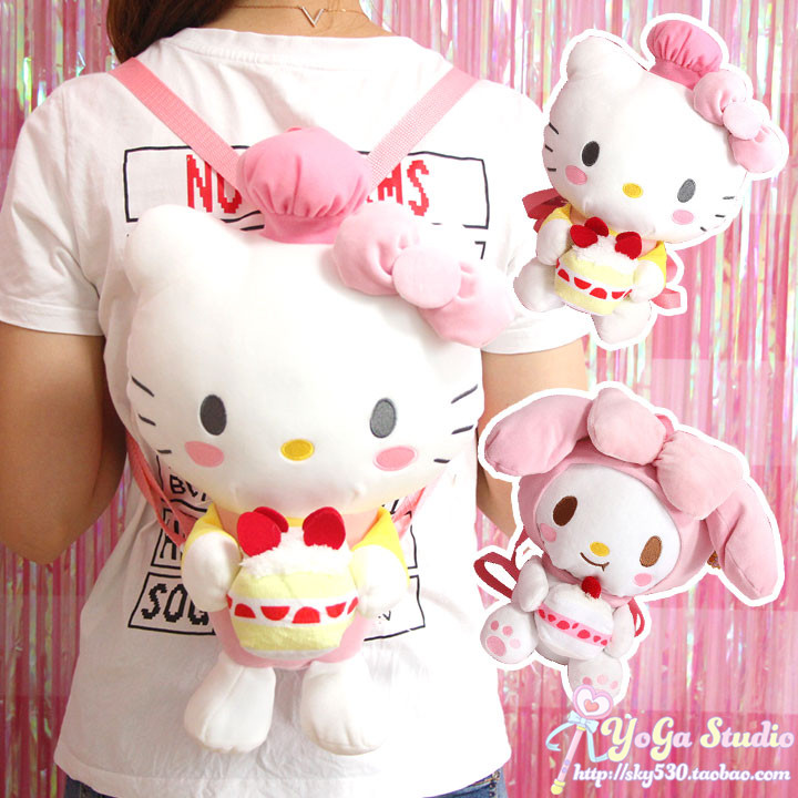 Cute Cartoon Hello Kitty My Melody Plush Backpack For Woman Girls School Bags Backpack For Children Grils Kids Birthday Gifts