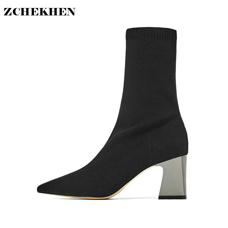 Europe Kim Fashion Ankle Knitted Elastic Sock Boots Chunky High Heels Stretch Women Autumn Pointed Toe Sexy Booties zorssar fashion ankle elastic sock boots chunky high heels stretch women autumn winter sexy booties women ankle boots size 43