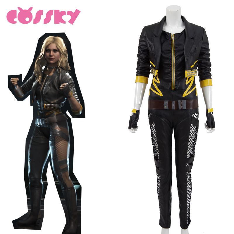 Injustice  League Black Canary Cosplay Costume Black Women Suit PU Hole Pants Halloween Costume