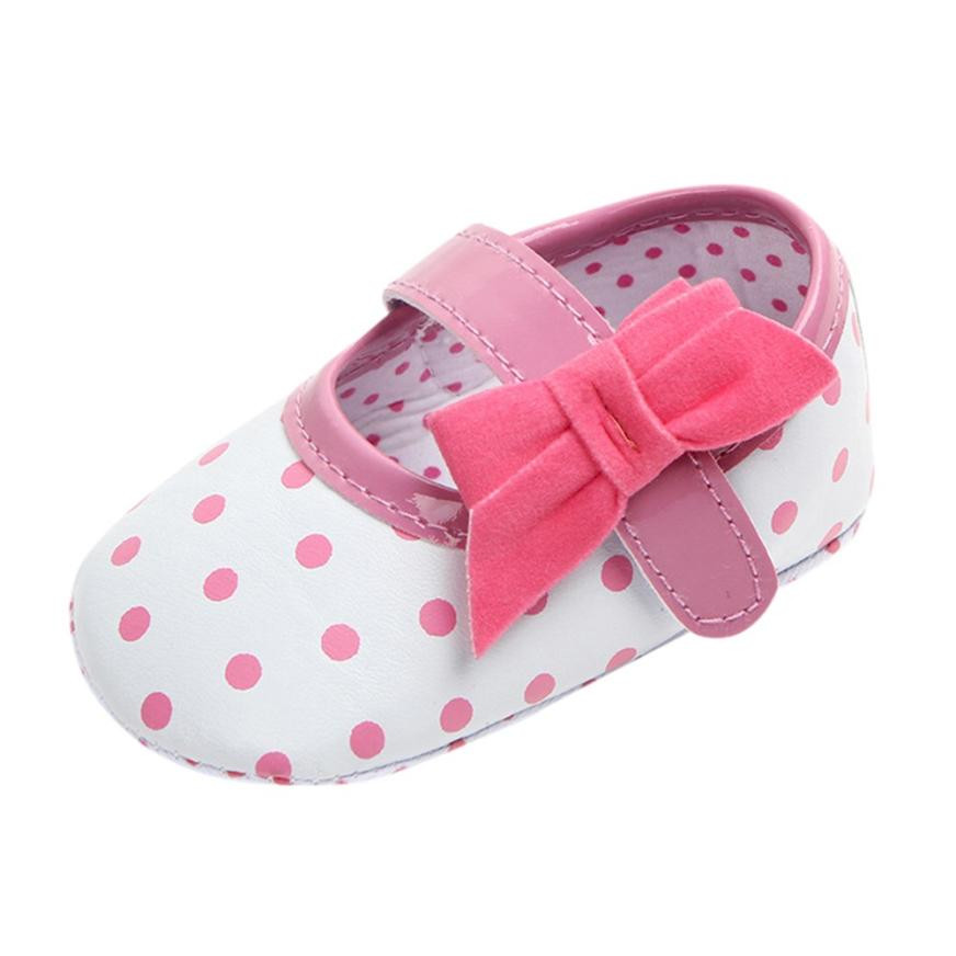 Shoes Toddler Bottom-Sole Anti-Slip Bowknot Newborn Print Party Baby-Girl Babies Dot