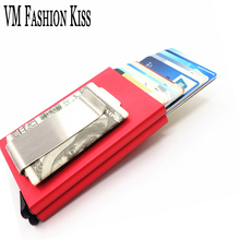VM FASHION KISS RFID Blocking Dual Aluminum Box Mini Money Wallet Credit Card & Id Holders Case Holder Thin Purse Metal Clip