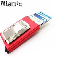 VM FASHION KISS RFID Blocking Dual Aluminum Box Mini Money Wallet Credit Card & Id Holders Case Holder Thin Purse Metal Clip