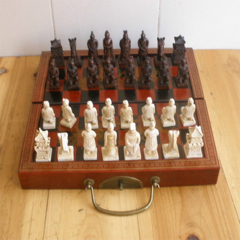 29 * 16 * 9.5CM International Chess No. Terracotta Figures Chess Pawn Perspective With Wooden Chess Board Christmas Present набор для специй terracotta дерево жизни