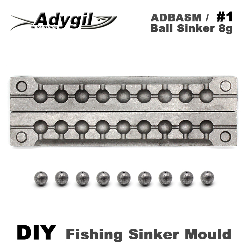 Adygil DIY Fishing Ball Sinker Mould ADBASM/#1 Ball Sinker 8g 9 Cavities outkit 10pcs lot copper lead sinker weights 10g 7g 5g 3 5g 1 8g sharped bullet copper fishing accessories fishing tackle