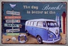 1 pc Van Summer vacation surfing Love sea Beach Lifeguard ocean Tin Plates Signs wall Shop Decoration Art Poster metal vintage
