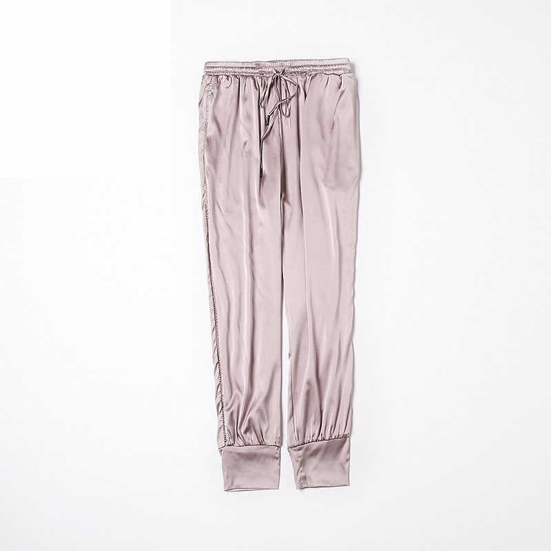 Apricot Pantalon Élastique Dentelle Fantaisie De Lourde Crêpe Mince Casual silver Pants1810028 Taille longueur Mulberry Crayon Cheville Soie w1X0Z