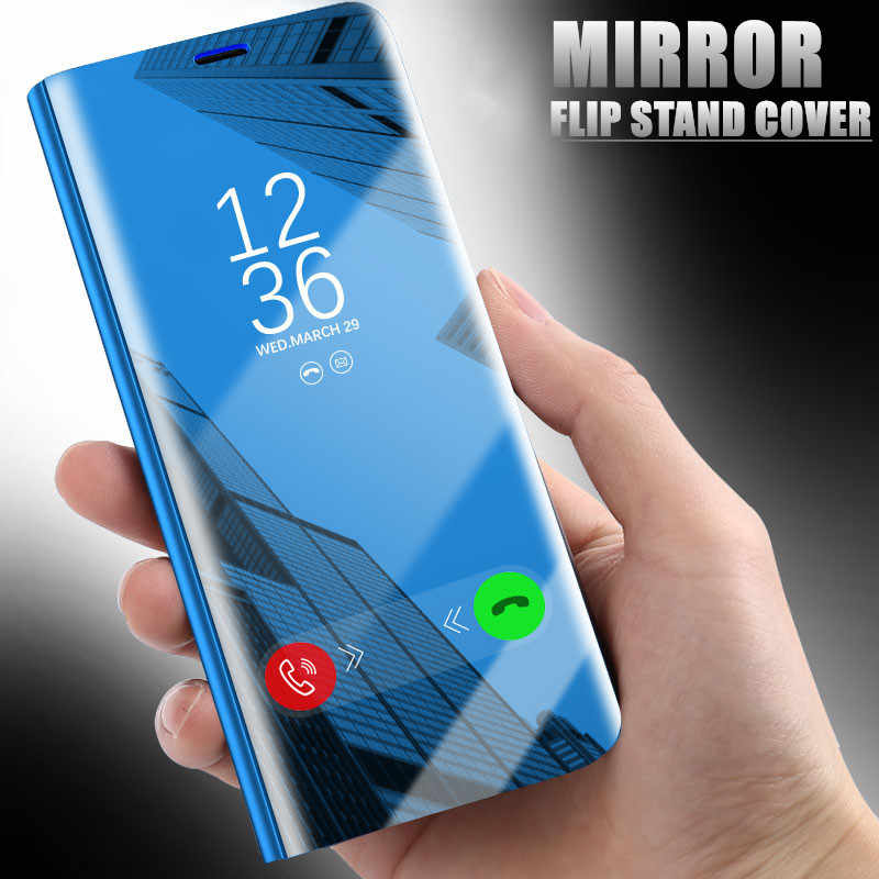 QINUO Smart Flip Stand Mirror Case For Huawei Nova 2 2i 3 3i 3e P10 P20 P30 P8 P9 Lite 2017 P Smart Mate 9 10 20 Lite Pro Cover