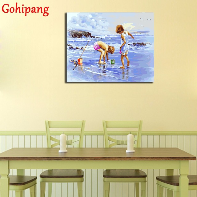 Summer Seaside Kids Wall Art Modular Picture Painting By Numbers ...