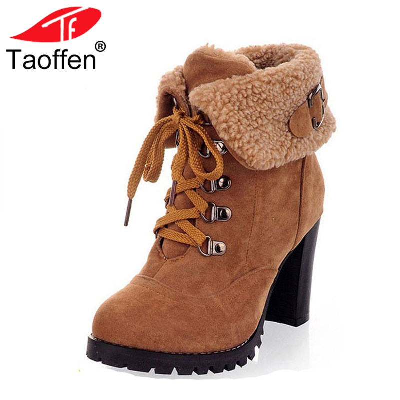 цена на TAOFFEN women high heel half short ankle boots winter martin snow botas fashion footwear warm heels boot shoes AH195 size 32-43
