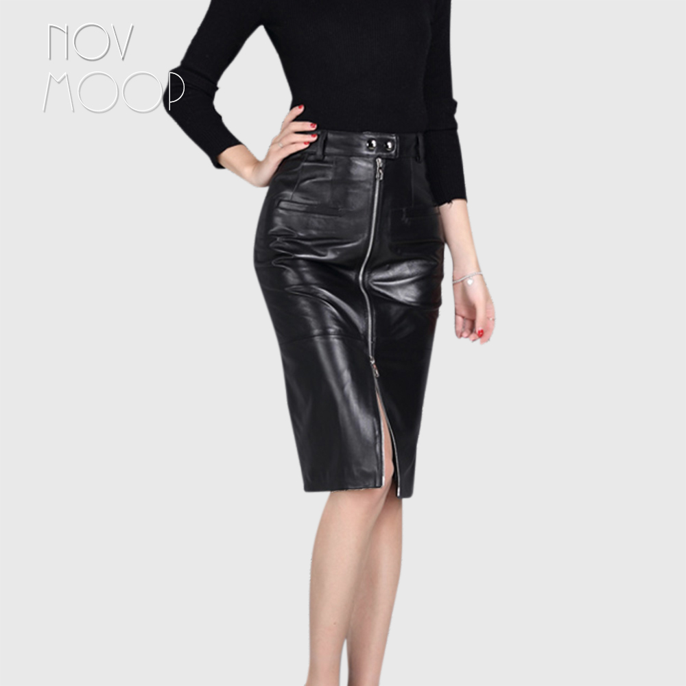 OL style high waist black genuine leather sheepskin lamb skirt front zipper women slim pencil skirt faldas jupe saia etek LT1578 image