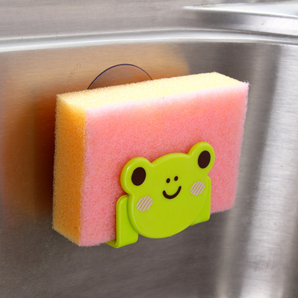 New Kitchen Cute animal Sink Sponge Dish Cloth Scrubbers Holder Cartoon With Strong Suction Cup Container