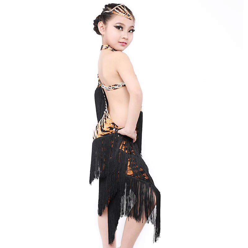 D30 Professional Tassel Practise Children Latin Dance Costumes Girl Female