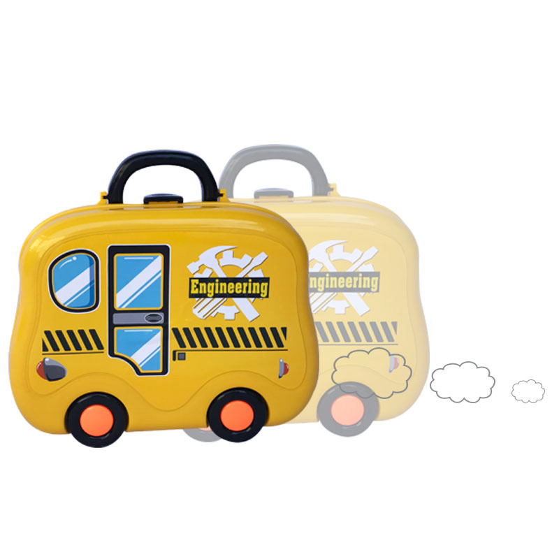 Kids Suitcase Parking Car Educational Toys For Children Wheels Engineering Vehicle Model Track Toys For Boys Repair Tools