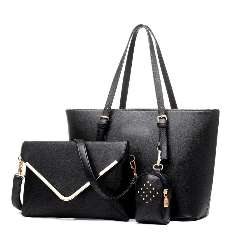 Fashion Women Bag font b Set b font Luxuy Brand Composite Female PU Casual Big Tote