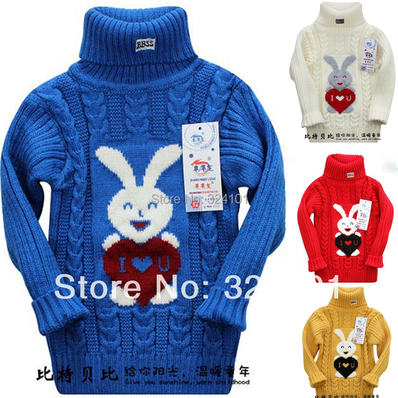 48d5902c848dfb kids rabbit cartoon IOU knitted sweaters children cotton pullovers jacket  fashion 6 designs 3pcs lot wholesale free shipping