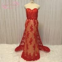 SuperKimJo Vestido Longo Detachable Skirt Evening Dresses 2018 Lace Applique Beaded Red Mermaid Evening Gown Abendkleider
