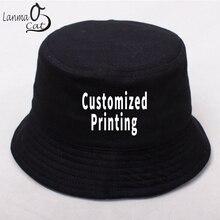 Lanmaocat gorro de algodón con logotipo personalizado para hombre y mujer, gorra de pescador con logotipo personalizado, estilo Hip Hop, DIY, envío gratis