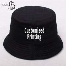 Lanmaocat letni kapelusz wędkarski mężczyźni kobiety Logo na zamówienie kapelusz wędkarski bawełna Hip Hop kapelusz typu Bucket Logo DIY osobiste kapelusze darmowa wysyłka