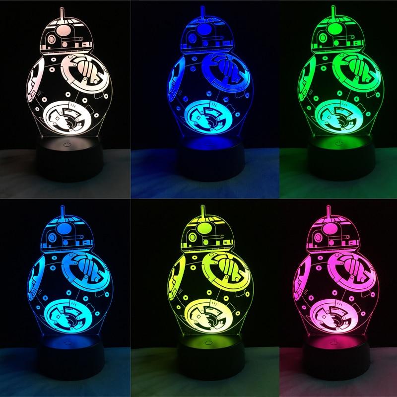 Star Wars BB-8 Ball Robot 3D Led Night Light Colorful Gradient Illusion Lamp Christmas Kids Gift Birthday Holiday Mood lighting диск пластиковый star fit bb 20 d 26 мм черный 1кг
