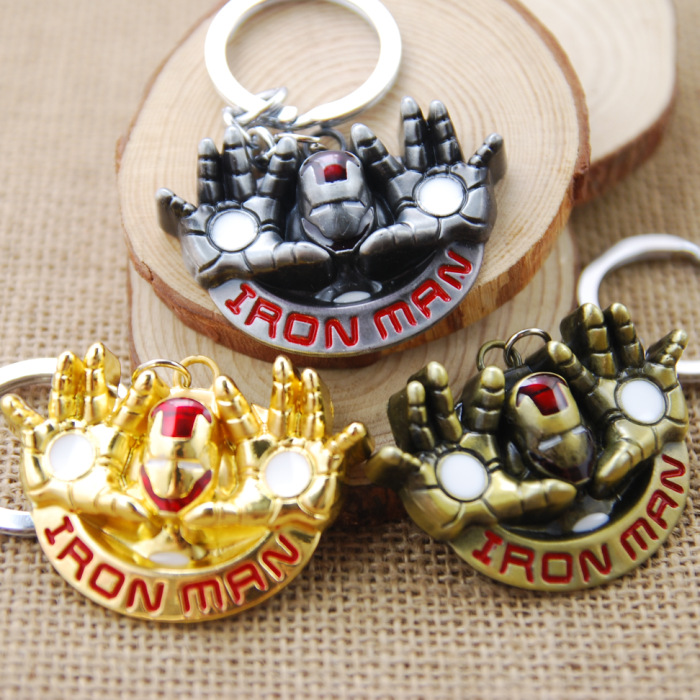 1pc 3colors Movie Series The Avengers Iron Man Flying Metal pendant Key Chains Keyring For Man's Boys Toy Figures