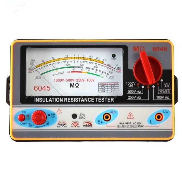 TY6045 Resistance Tester 100V 250V 500V 1000V Insulation Pointer Resistance Meter Analog Insulation Tester 0 5