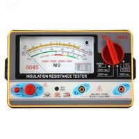 TY6045 Resistance Tester 100V 250V 500V 1000V Insulation Pointer Resistance Meter Analog Insulation Tester 0.5 2000M Resistance