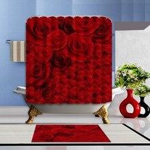 Nuevo Día de San Valentín Roja Impermeable de Tela de Poliéster y Ganchos de Cortina de Ducha de Baño Y Set de Esterillas Rosas Decoración Cuarto De Baño