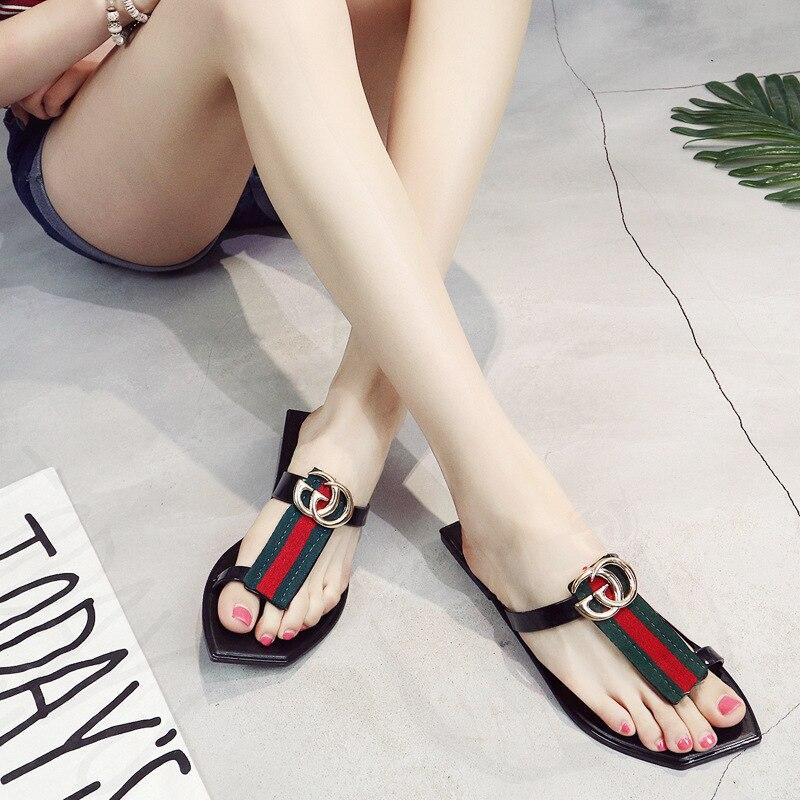 Mode Zomer Bohemen Satijn Helling Hak Strand Vrouwelijke Slippers - Damesschoenen - Foto 3