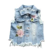 От 1 до 5 лет джинсовые жилеты для маленьких девочек; весенне-осенняя джинсовая куртка без рукавов для девочек; Джинсовая Верхняя одежда с вышитыми цветами; одежда для малышей; BC227