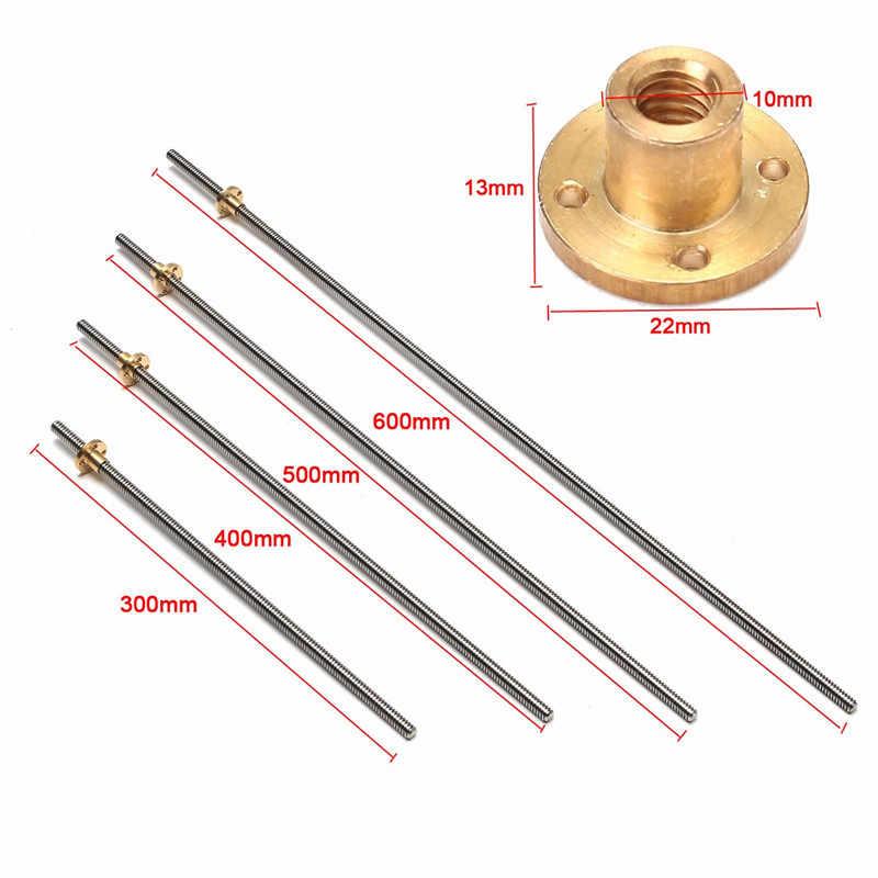 8mm 300/400/500/600mm Chumbo 2mm Parafuso de Avanço de Aço Inoxidável + T8 Latão porca Para CNC 3D Impressora Reprap Nova Marca
