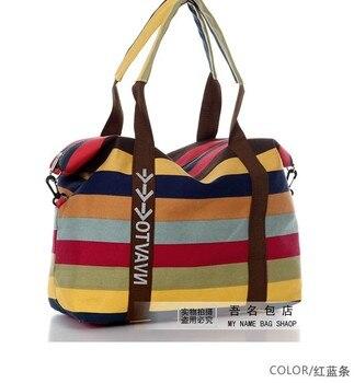 Women's Canvas Slung Women's Shoulder Bag Ladies Beach Handbags Striped Shopping Bag 2