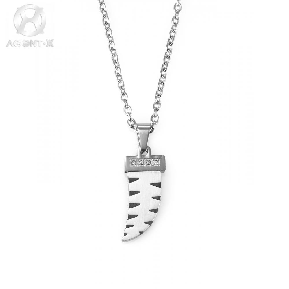 AgentX Brand Mens Gents Silver Mini Sword Shape Crystal Stainless ...