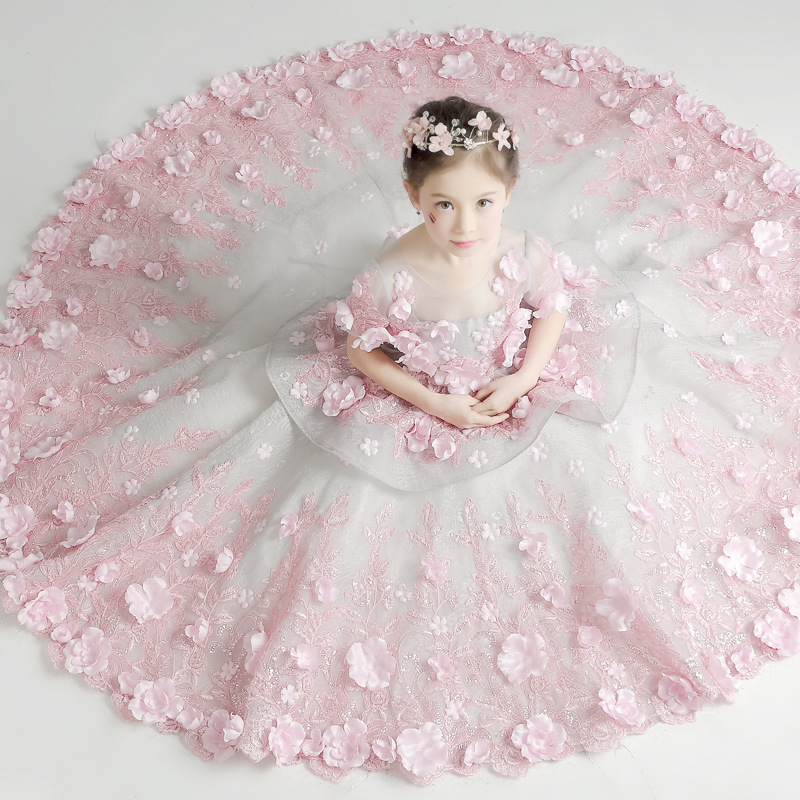 Flower Girl Tutu Dress Birthday Party Wedding Princess Girls Dresses Floral Clothes Children Clothing Kids Girl Long Dress LJ193 flower girl dress 2017 new girls pearls birthday wedding party princess dresses kids white tutu mesh costume children clothes