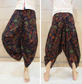 Top Design Paisley Low Dropped Crotch Linen Harem Pant Mens Fashion Loose Casual Summer Brand Beach Trousers 2016