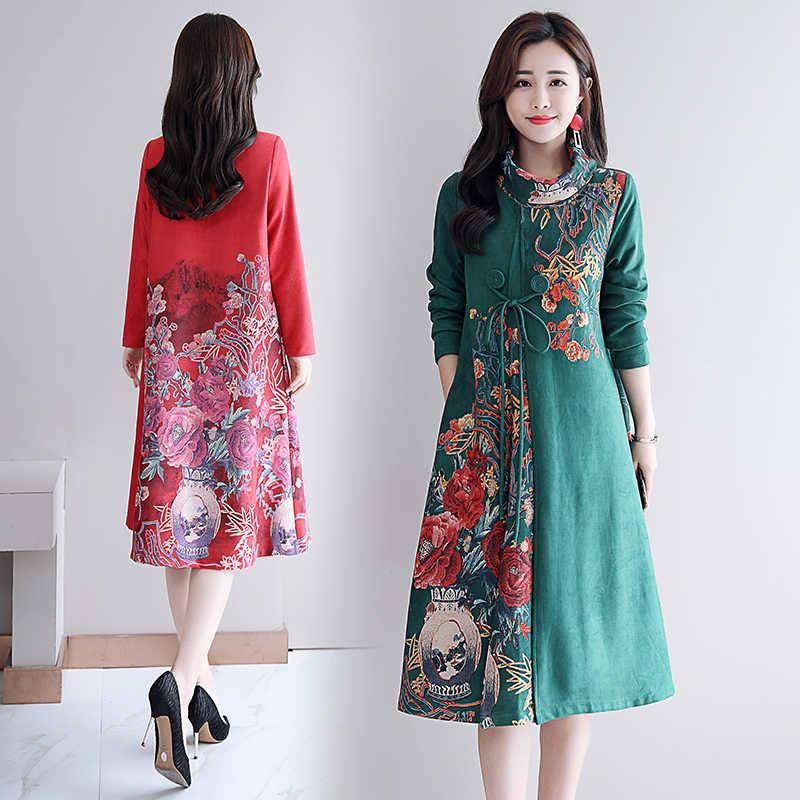 9db5d945383 Мода 2019 новые осенние женские платья Плюс Размер Повседневное Хлопковое  платье зима толстый длинный рукав водолазка