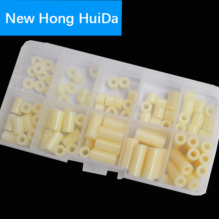 M3 Nylon Round ABS Metric Spacer Plastic Standoff Assortment Kit 100pcs,White 3/4/5/6/8/10/12/15/18/20mm (OD*ID*H)