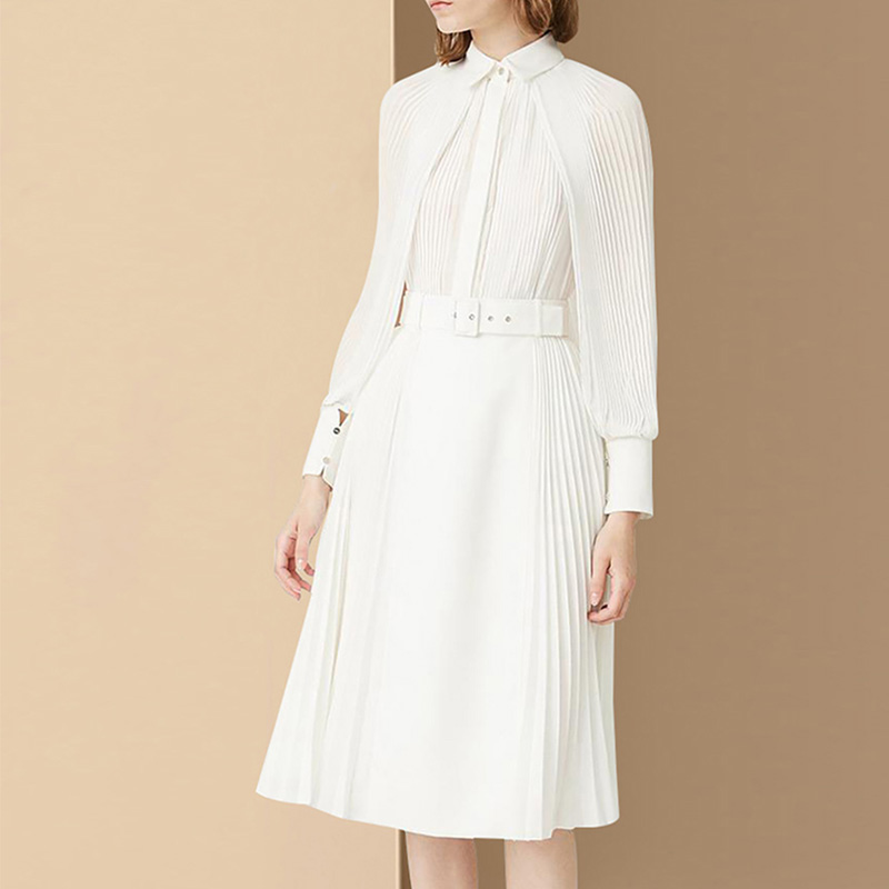 2019 New Fashion Eelgant Asian Style Design Runway Cloak Sleeve Summer White Pleated Dress with a