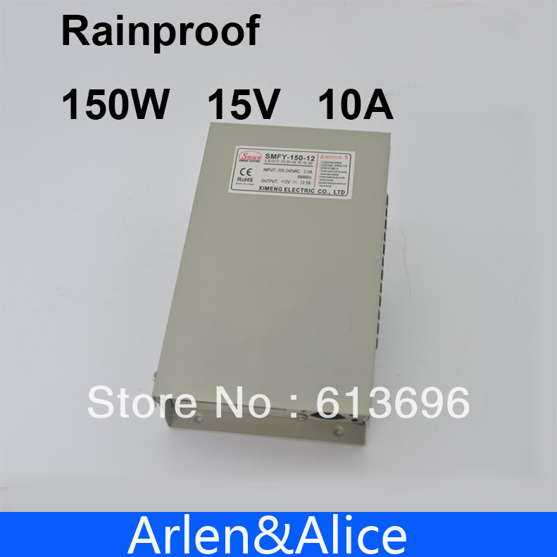 150W 15V 10A Rainproof outdoor Single Output Switching power supply smps AC TO DC for LED