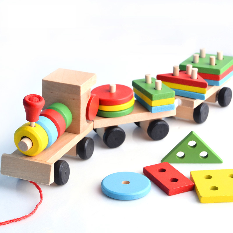 Wooden Train Geometric Shape Vehicle Blocks with matching Childrens Montessori Soft block set education Gift for Baby&Kids