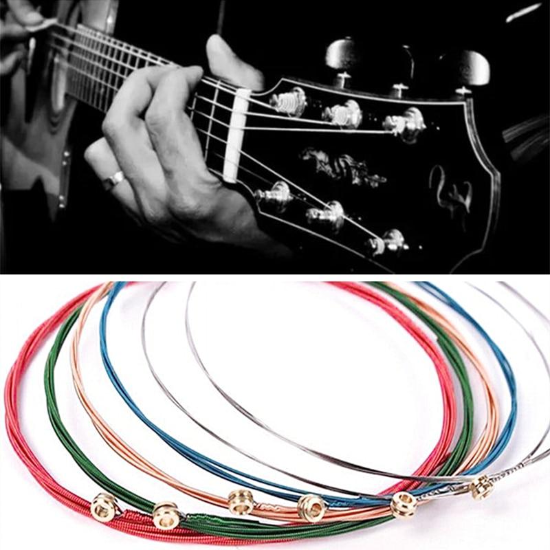1 Set 6Pcs Rainbow Colorful Guitar Strings E-A For Acoustic Folk Guitar Classic Guitar Multi Color Guitar Parts