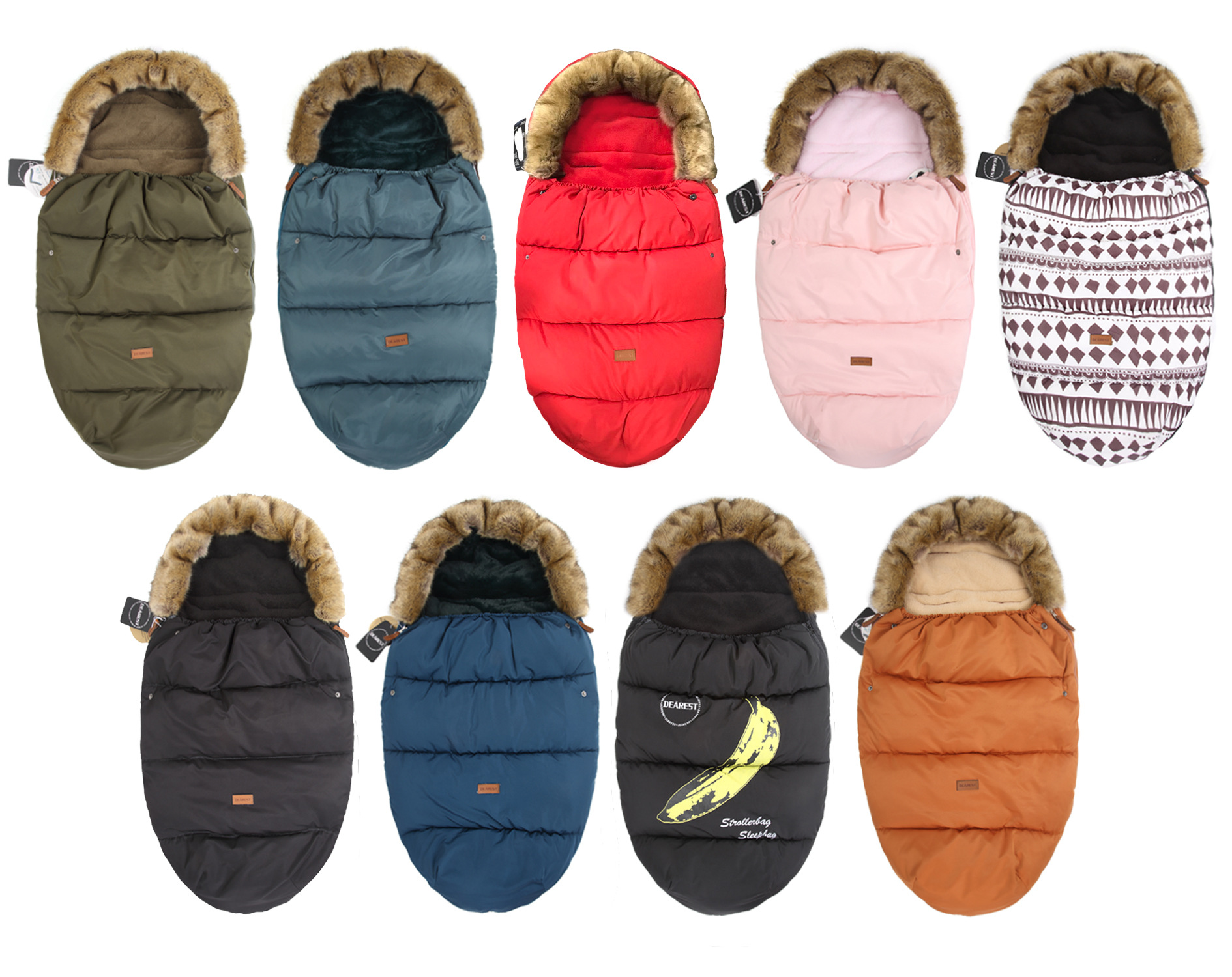 Baby Stroller Sleeping Bags Warm Oversized Envelope Velvet Thickening Winter Foot Muff Windproof Fur Collar Baby Wrap Quilt baby stroller sleeping bags warm oversized envelope velvet thickening winter foot muff windproof fur collar baby wrap quilt