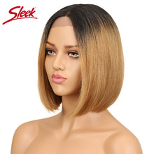 Sleek Human Hair Wigs For Black Women Peuvian Straight Lace Front Human Hair wig Short Bob Wigs ombre blond wig Free Shipping(China)