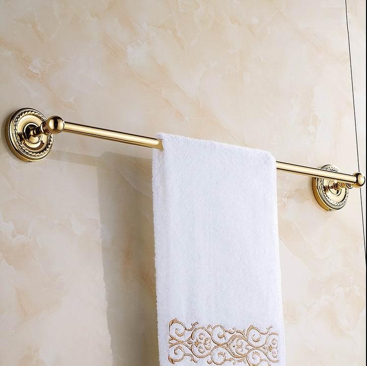 Free Shipping Luxury Gold-plating Finish brass Single towel bar towel bar Bathroom Accessories towel holder high quality Classic цена и фото