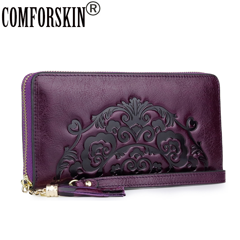 COMFORSKIN New Arrivals Long Vintage Tassel Wallet Luxury 100% Genuine Leather Large Capacity Women Zipper Purses With Hand Rope