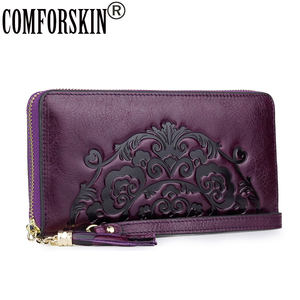 Image 1 - COMFORSKIN New Arrivals Long Vintage Tassel Wallet Luxury 100% Genuine Leather Large Capacity Women Zipper Purses With Hand Rope
