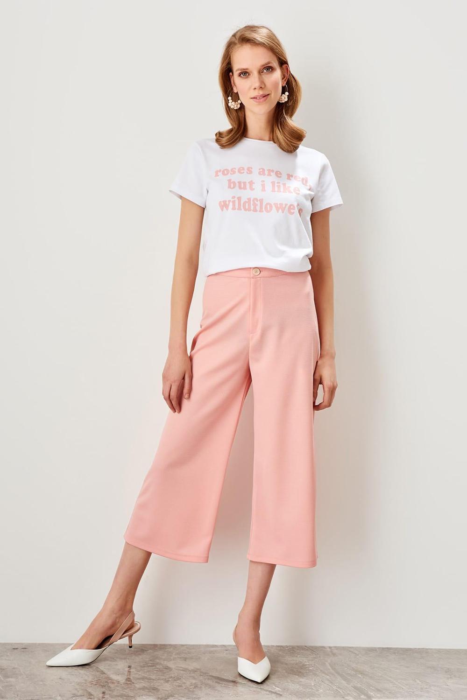 eb68e90d56e6a Trendyol Salmon Pink High Waist Straight Leg Pants Lyocell Women's Trousers  2019 Spring Office Lady Workear Pants TWOSS19BB0132