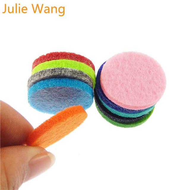 Julie Wang 20 piezas colorido cuadrado redondo almohadillas de fieltro para aceite esencial perfume de medallón del difusor de aromaterapia de accesorios de joyería DIY
